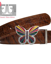 Rainbow Butterfly buckle with Brown Belly Crocodile Patterned Belt