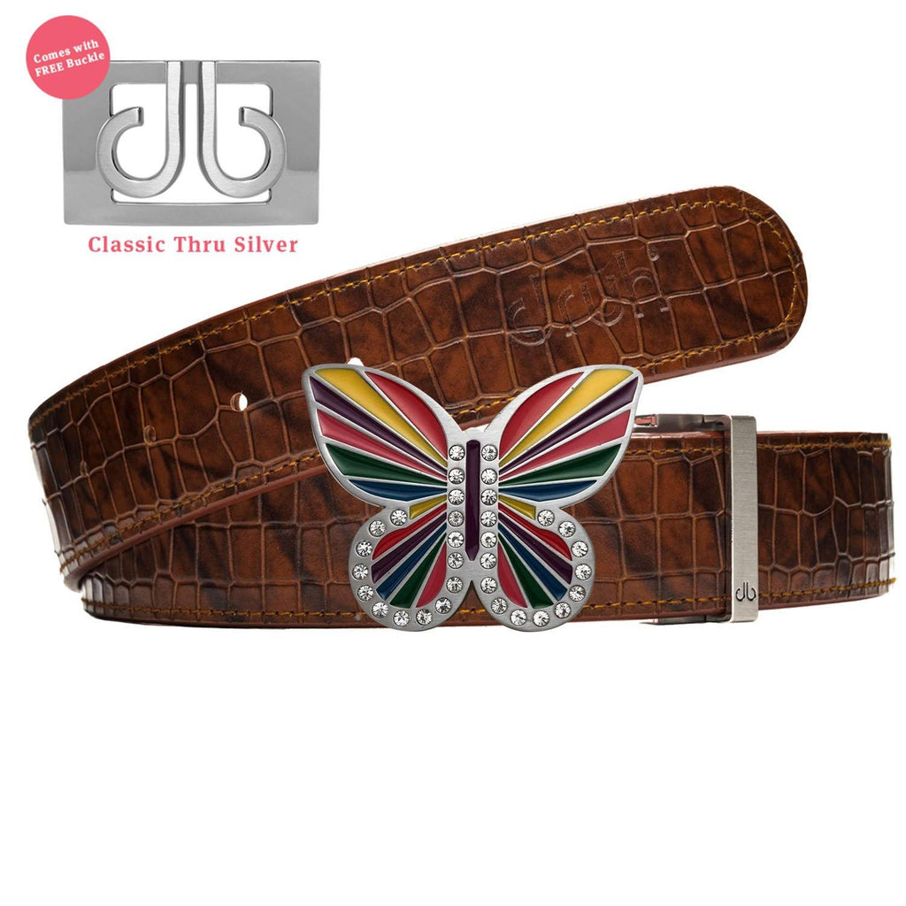 Brown Belly Crocodile Patterned Belt with Rainbow Butterly Buckle
