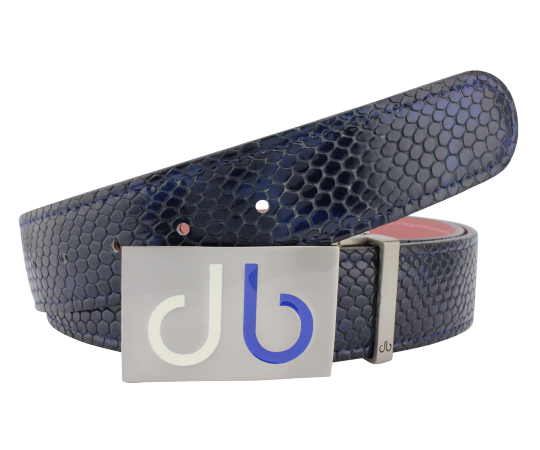 Navy Snakeskin Texture Leather Belt and Two Tone Blue White Infill Buckle