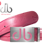 Pink Crocodile Leather Belt with Infill Pink Buckle