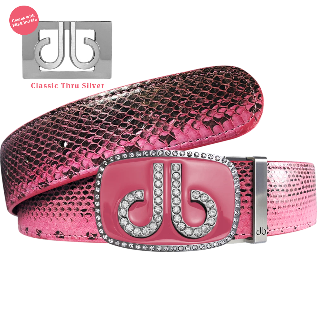 Pink Snakeskin Leather Belt with Buckle