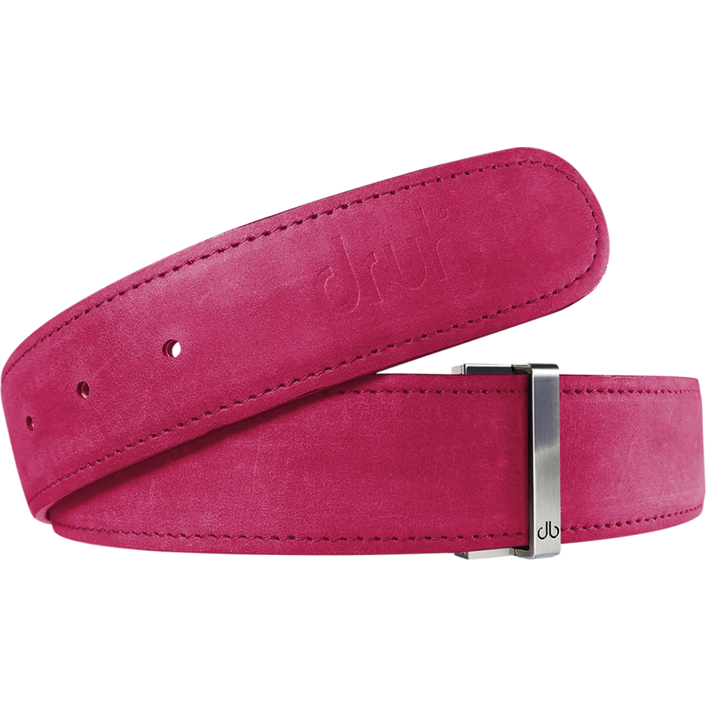 Fuschia Plain Textured Leather Belt