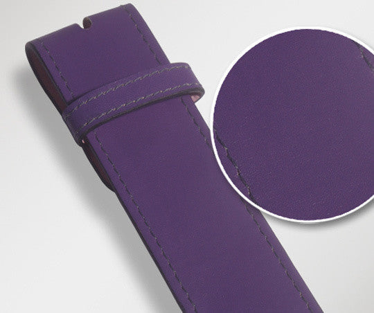 Purple Plain Texture Leather Belt