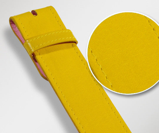 Yellow Plain Texture Leather Belt