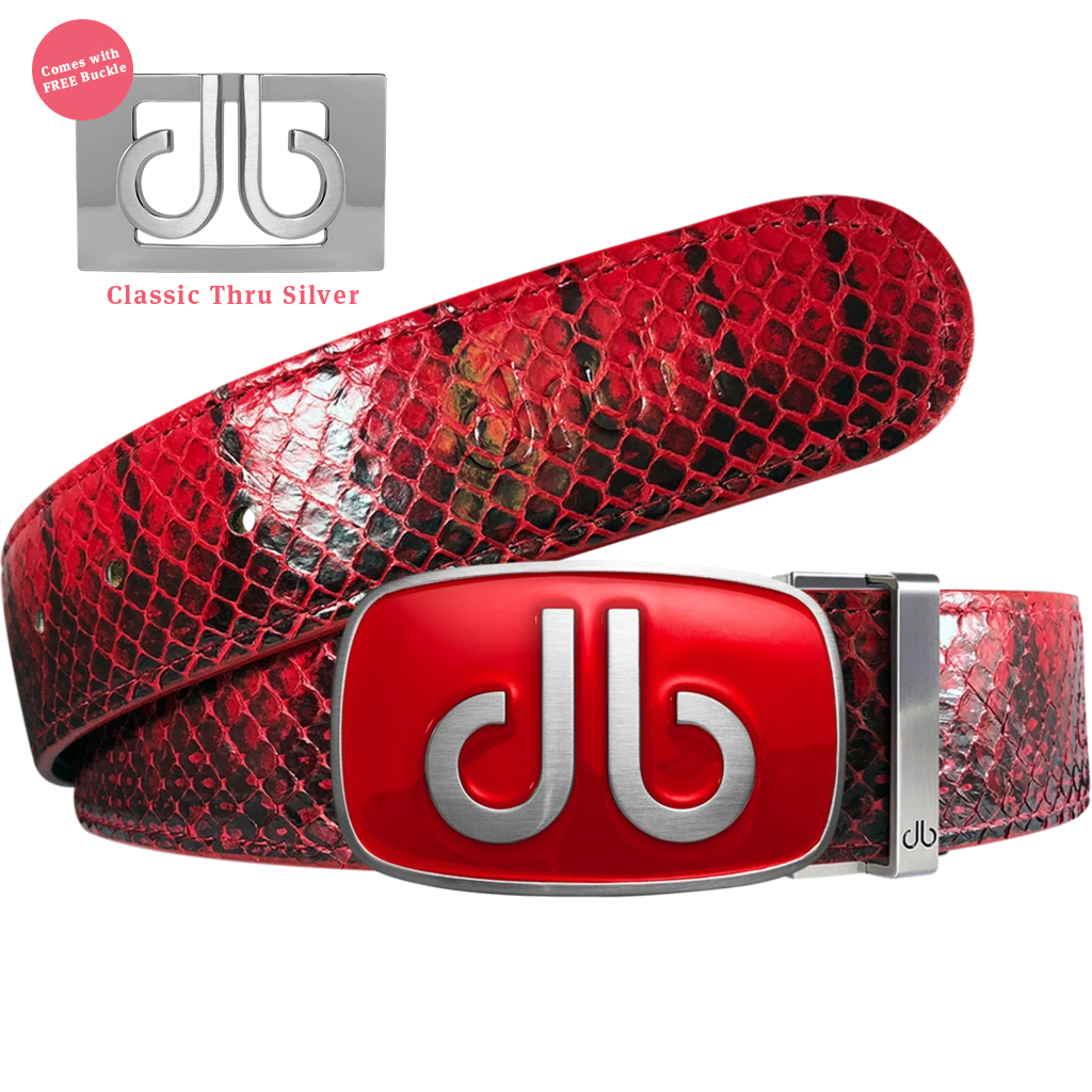 Red Real Snakeskin Leather Belt with Big Red Buckle
