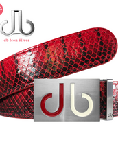 Red Real Snakeskin Leather Belt with Two Toned Red & White Buckle