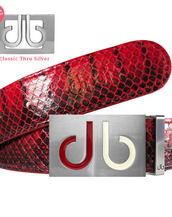 Red Real Snakeskin Leather Belt with Infill Red & White Buckle