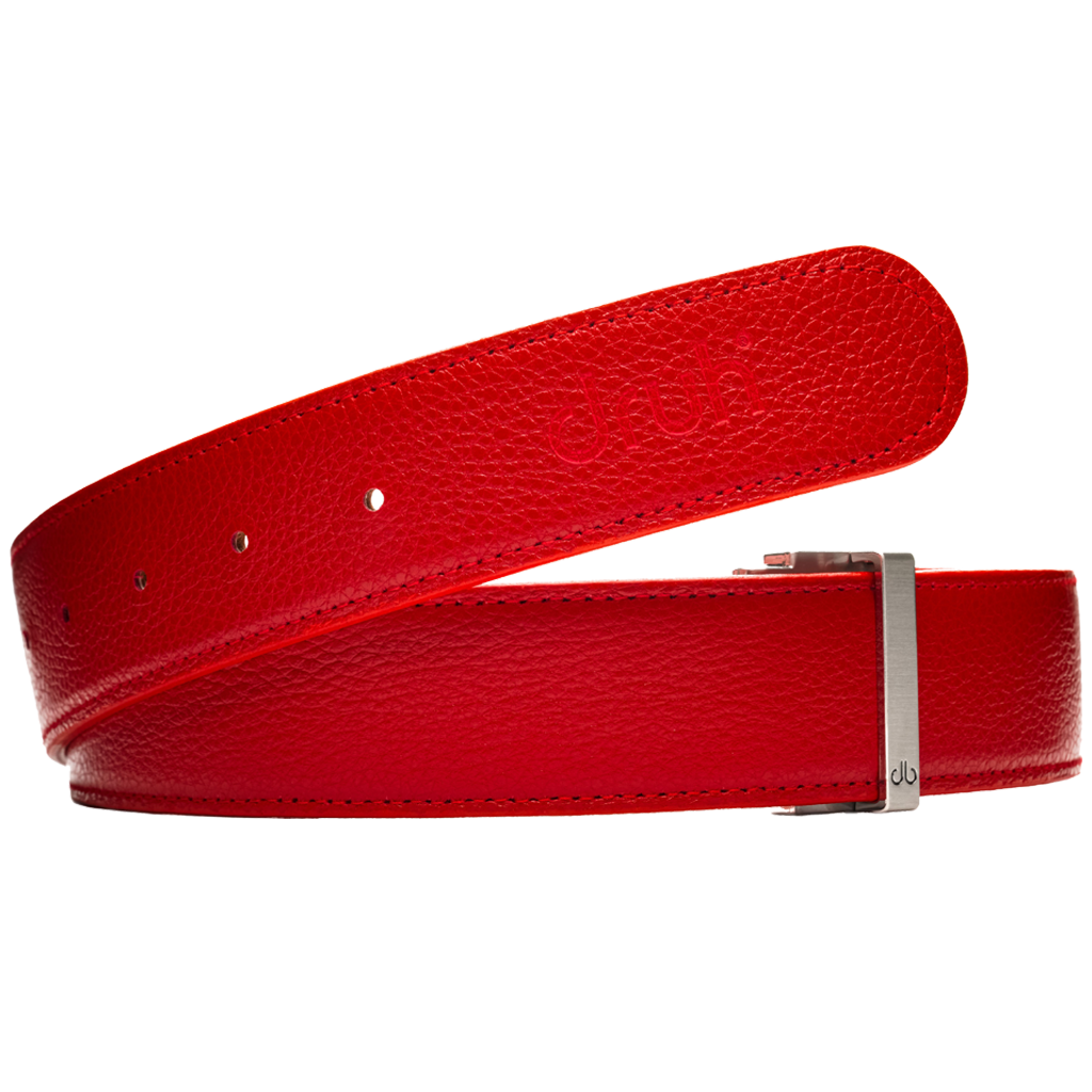 Red Full Grain Patterned Leather Belt