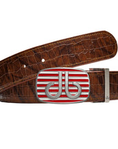Red & White Stripe buckle with Brown Belly Crocodile Patterned Belt