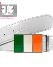 White Crocodile Textured Leather Belt with Ireland Flag Buckle