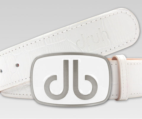 White Crocodile Textured Leather Belt with Big Buckle