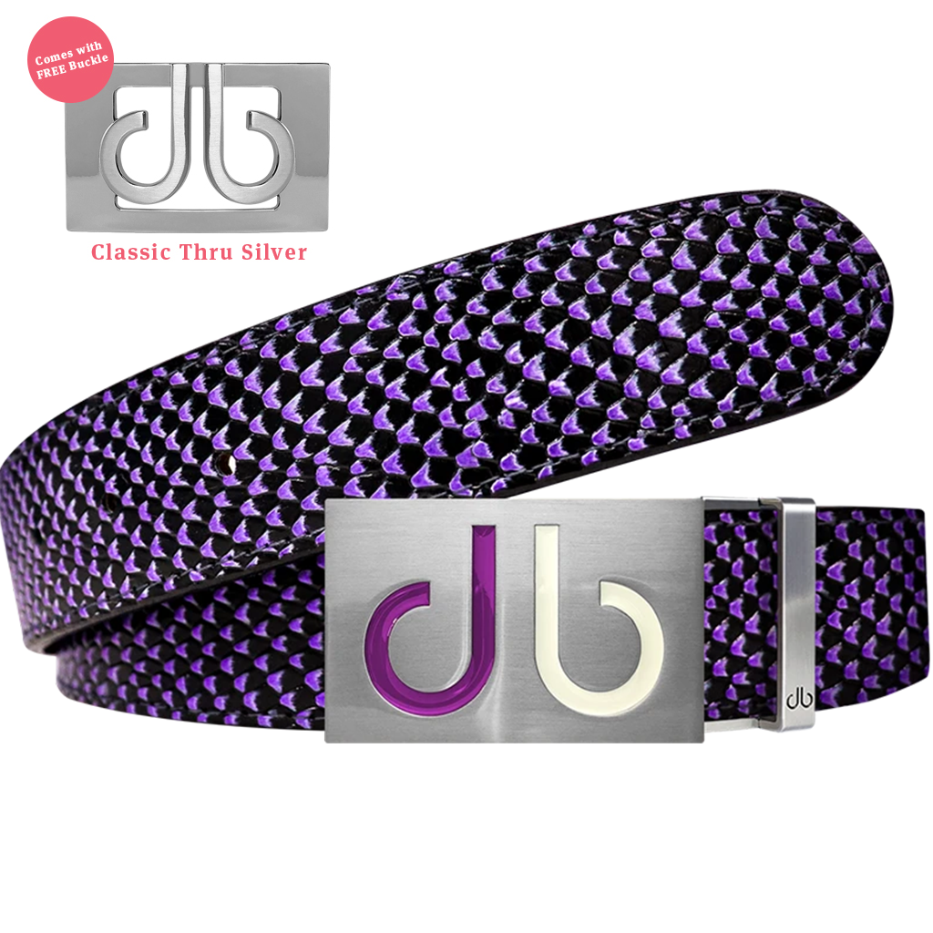 Two Tones White & Purple Buckle and Black & Purple Snakeskin Patterned Leather Belt