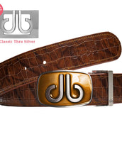 Tinted buckle - Bisquit with Brown Belly Crocodile Patterned Belt