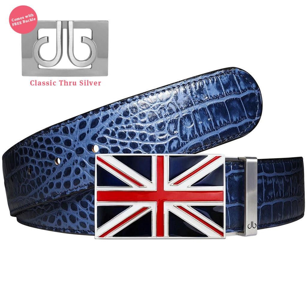 Union Jack Flag Buckle with Blue Crocodile Patterned Leather Belt