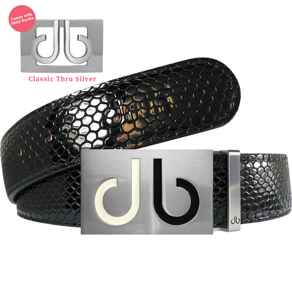 White and Black Two Tones Buckle with Black Shiny Snakeskin Patterned Leather Belt