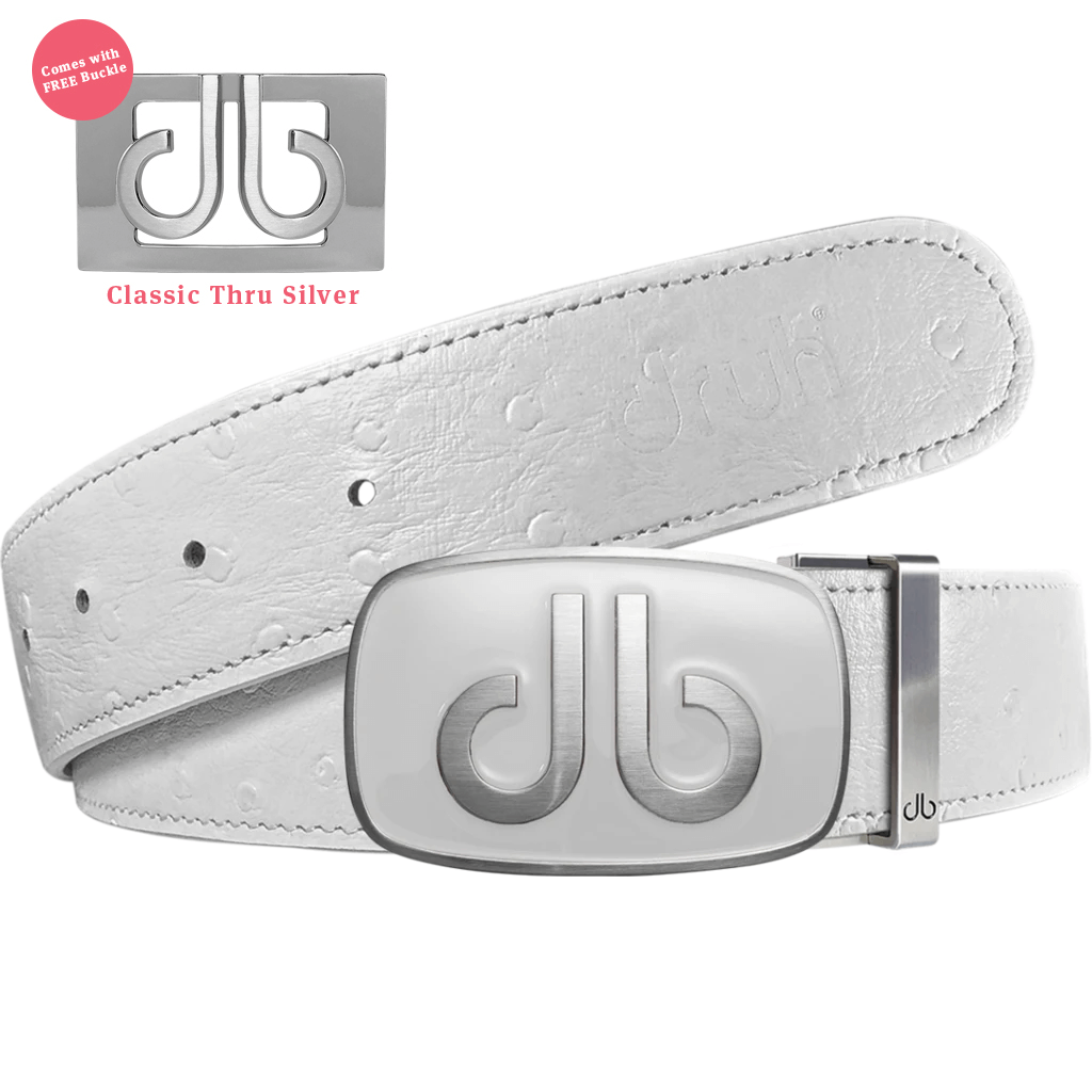 White Ostrich Texture Leather Strap with db White Buckle