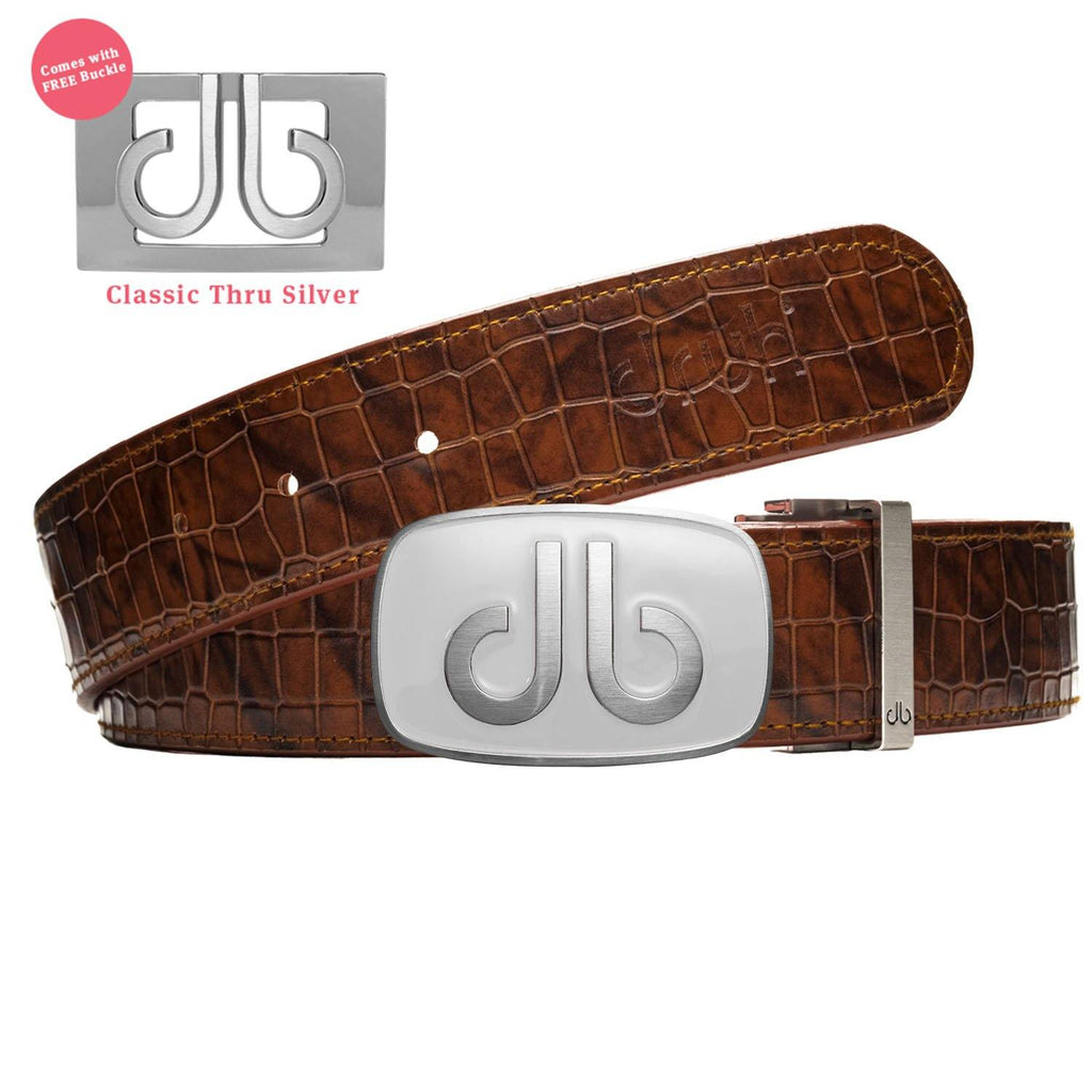 White Big Buckle with Brown Belly Crocodile Patterned Belt