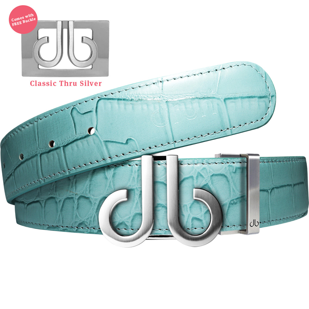 DB Icon Silver Buckle with Aqua Crocodile Patterned Leather Belt