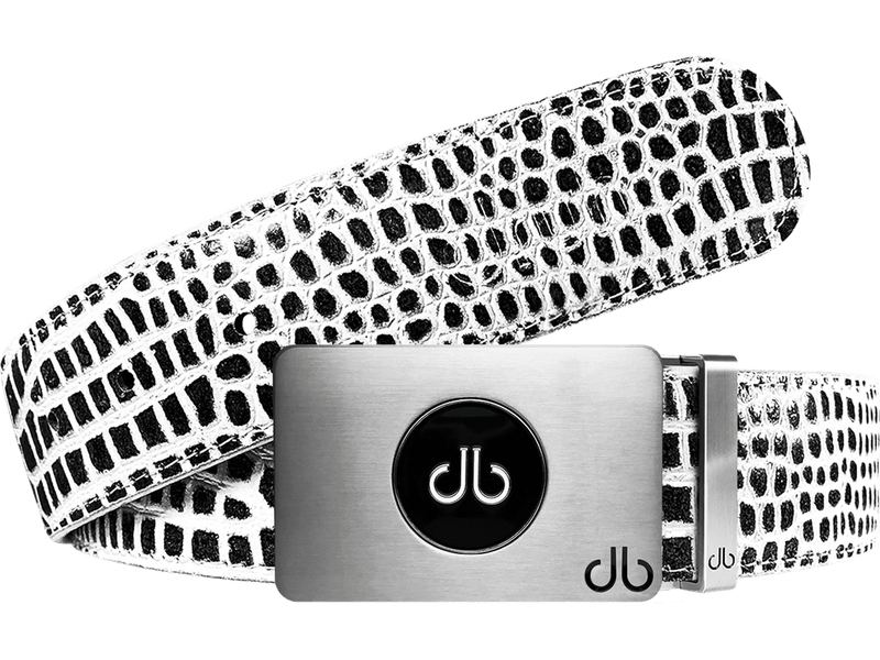 Ballmarker Buckle with Black & White Crocodile Patterned Leather Belt