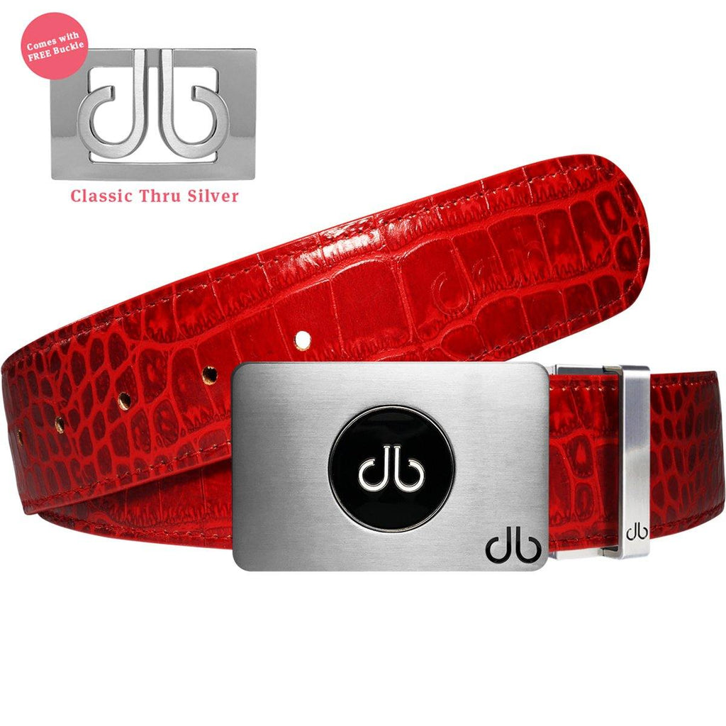 Ballmarker Buckle with Red Crocodile Patterned Leather Belt