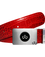 Ballmarker Red Crocodile Leather Texture Belt