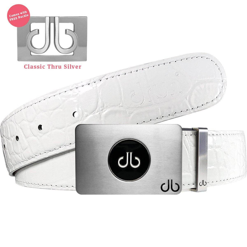 Ballmarker Buckle with White Crocodile Patterned Leather Belt