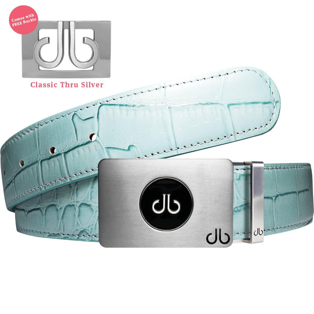 Ballmarker Buckle with Aqua Crocodile Patterned Leather Belt