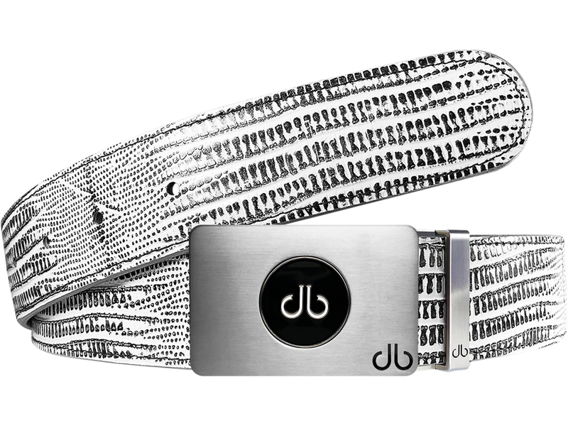 Ballmarker White & Black Lizard Leather Texture Belt