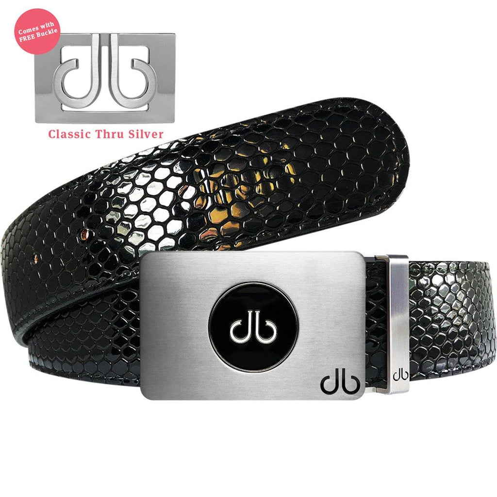 Ballmarker Buckle with Black Shiny Snakeskin Patterned Leather Belt