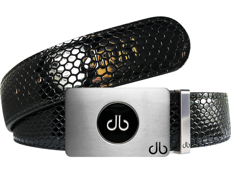 Ballmarker Black Snakeskin Leather Texture Belt