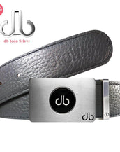 Ballmarker Buckle with Grey Full Grain Patterned Leather Belt