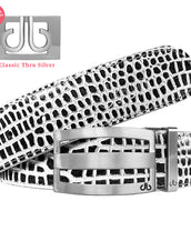Silver Classic Stripe Buckle with Black&White Crocodile Patterned Leather Belt