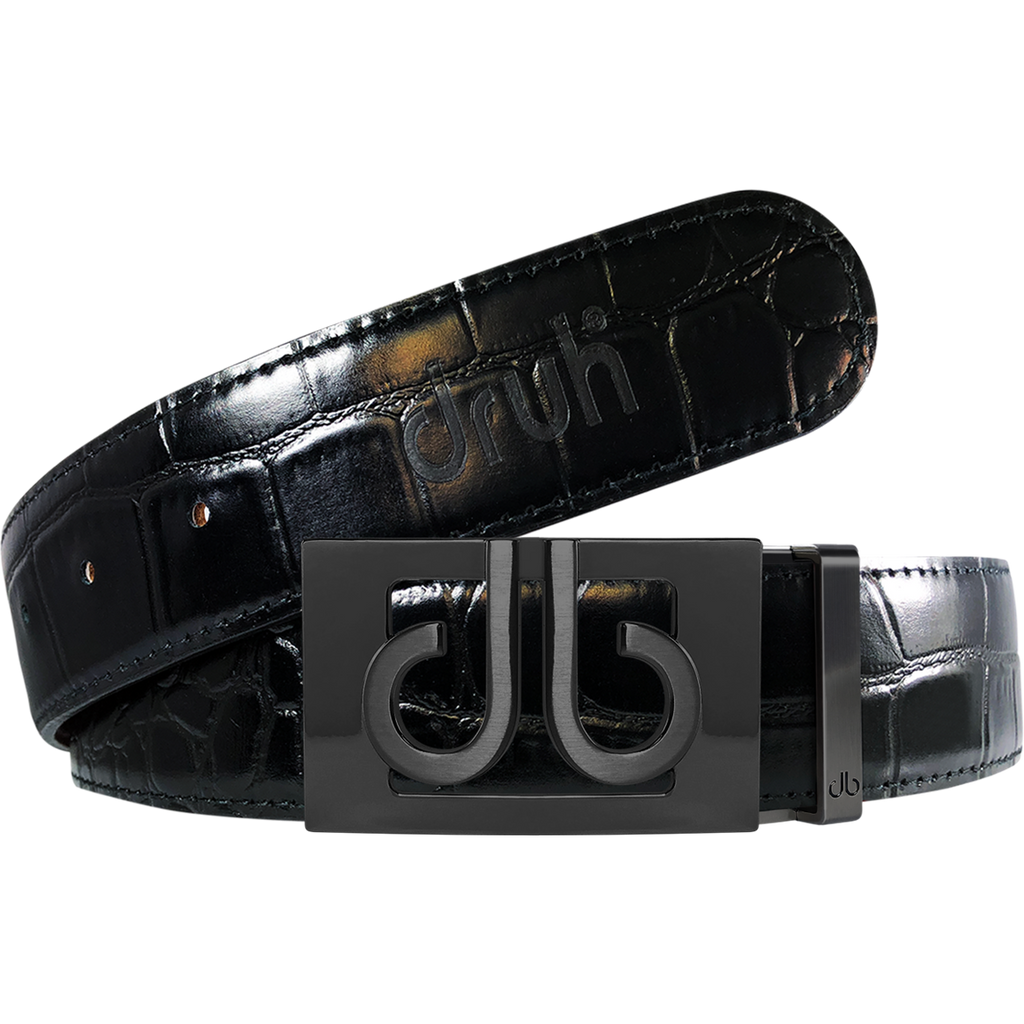 Black Crocodile Textured Leather Belt with Classic Matte Black Thru Buckle