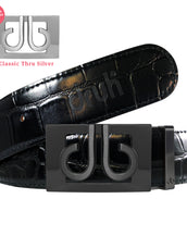 Matte Black Classic Thru Buckle with Black Crocodile Patterned Leather Belt