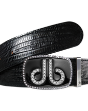 Black Lizard Patterned Leather Belt with Black Diamante Buckle