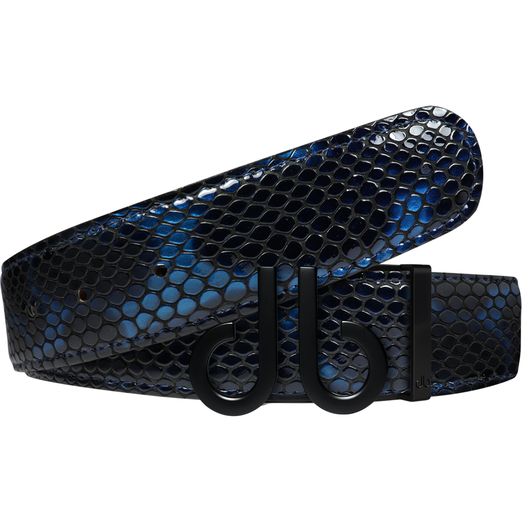 Shiny Snakeskin Texture Belt Blue & Black with Matte Black 'db' Icon Buckle