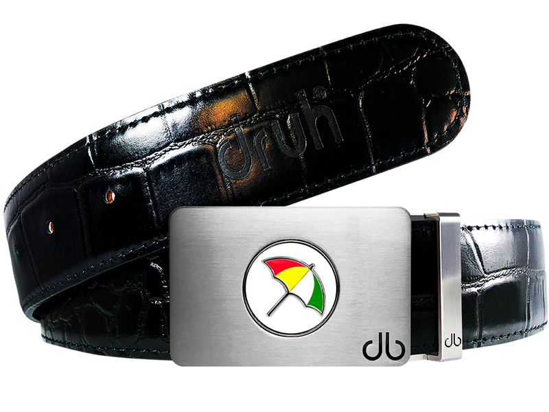 Arnold Palmer Ballmarker Buckle and Crocodile Leather Belt in Black