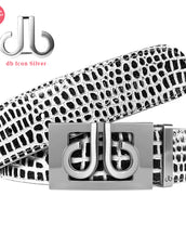 Silver Thru Classic Buckle with Black and White Crocodile Patterned Leather Belt