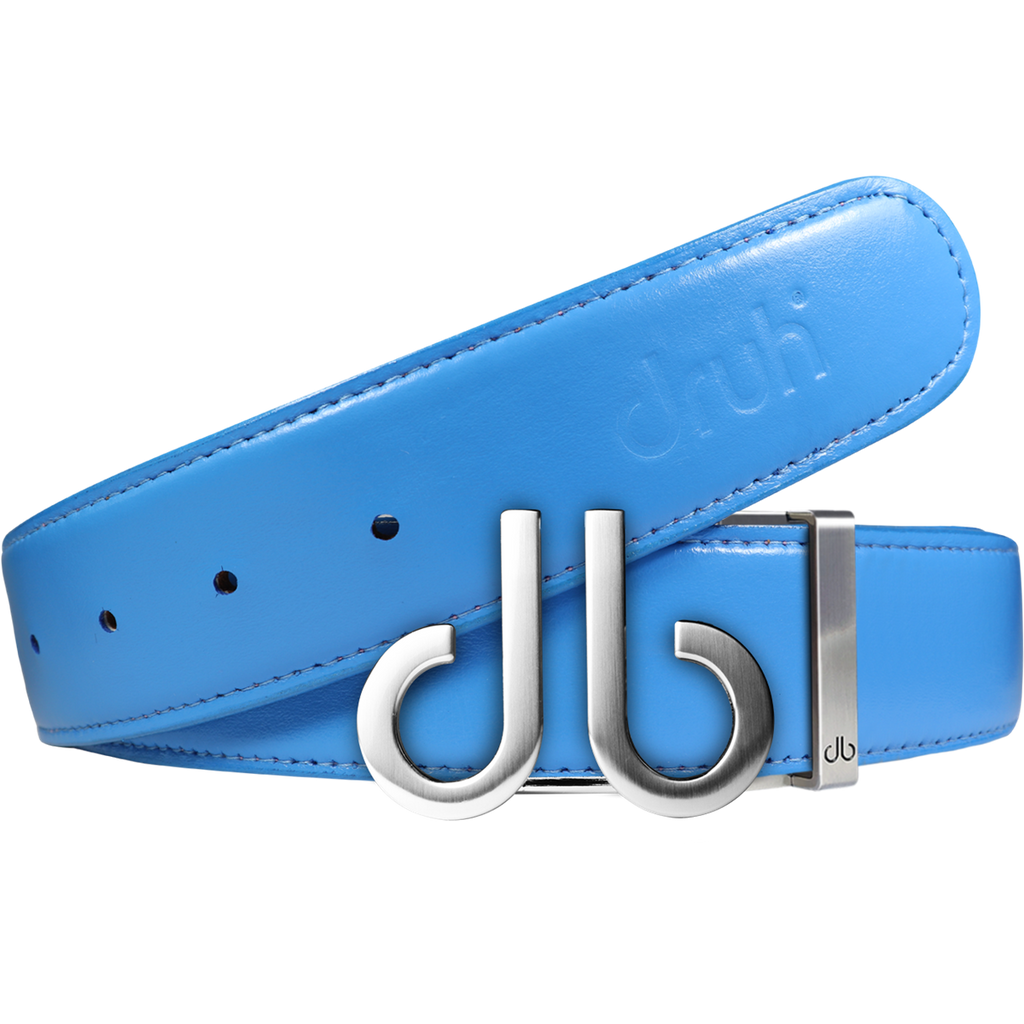 Full Grain Leather Belt in Sky Blue with Brushed Silver 'db' Icon Buckle