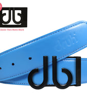 Plain Leather Belt in Sky Blue with Matte black 'DB' Icon Buckle