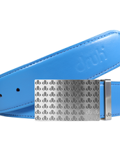 Full Grain Leather Belt in Sky Blue with Black & White 'db' Repeat Buckle