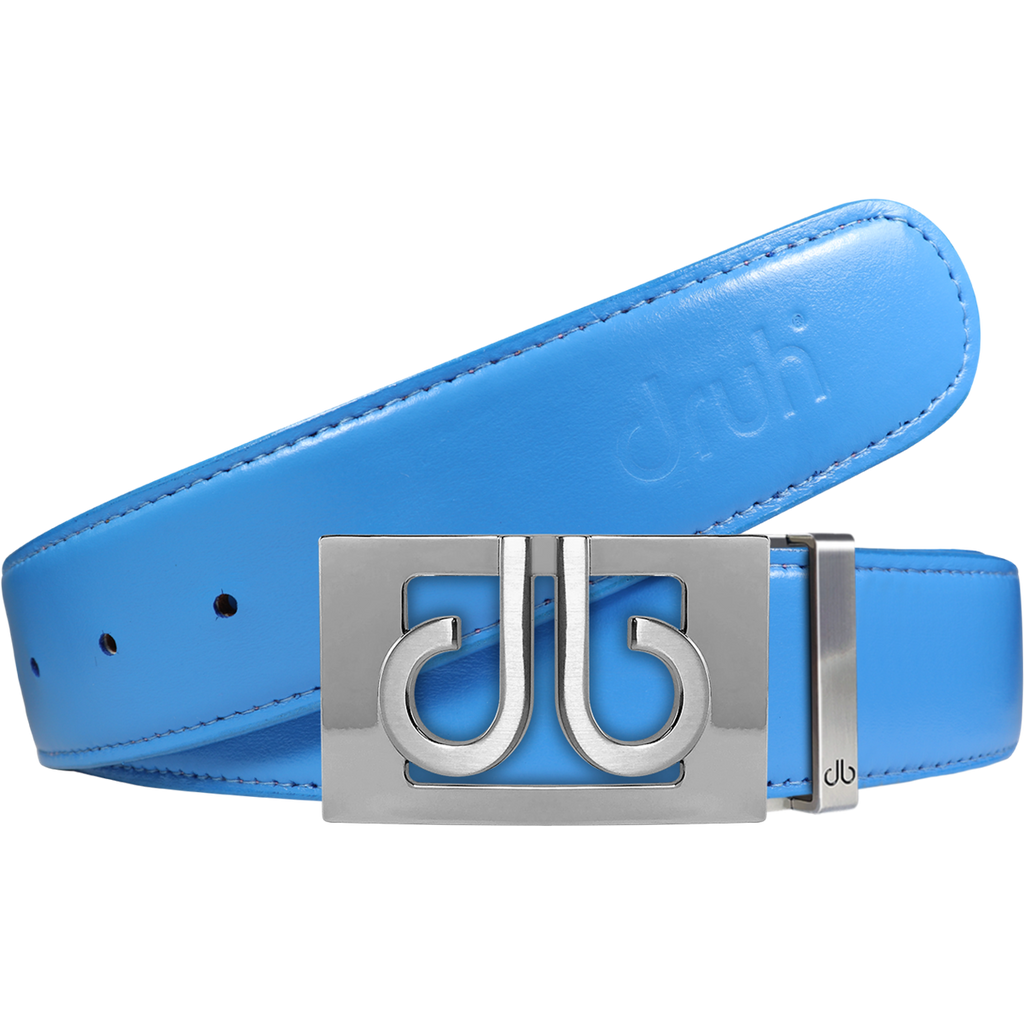 Full Grain Leather Belt in Sky Blue with Silver 'db' Thru Buckle
