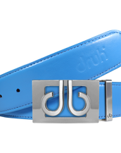 Plain Leather Belt in Sky Blue with Silver 'db' Thru Buckle