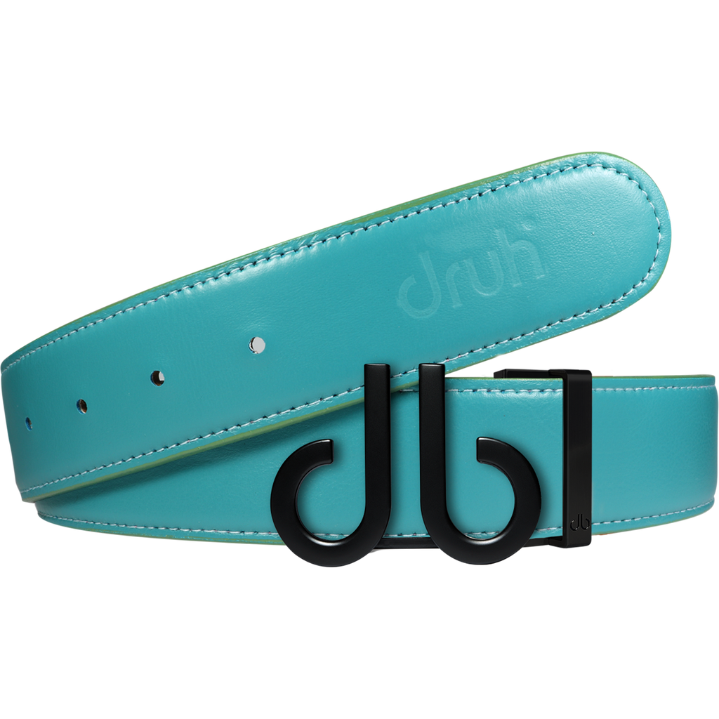 Full Grain Leather Belt in Aqua with Matte black 'db' Icon Buckle