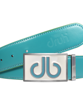 Full Grain Leather Belt in Aqua with White & Aqua Double Infill Buckle