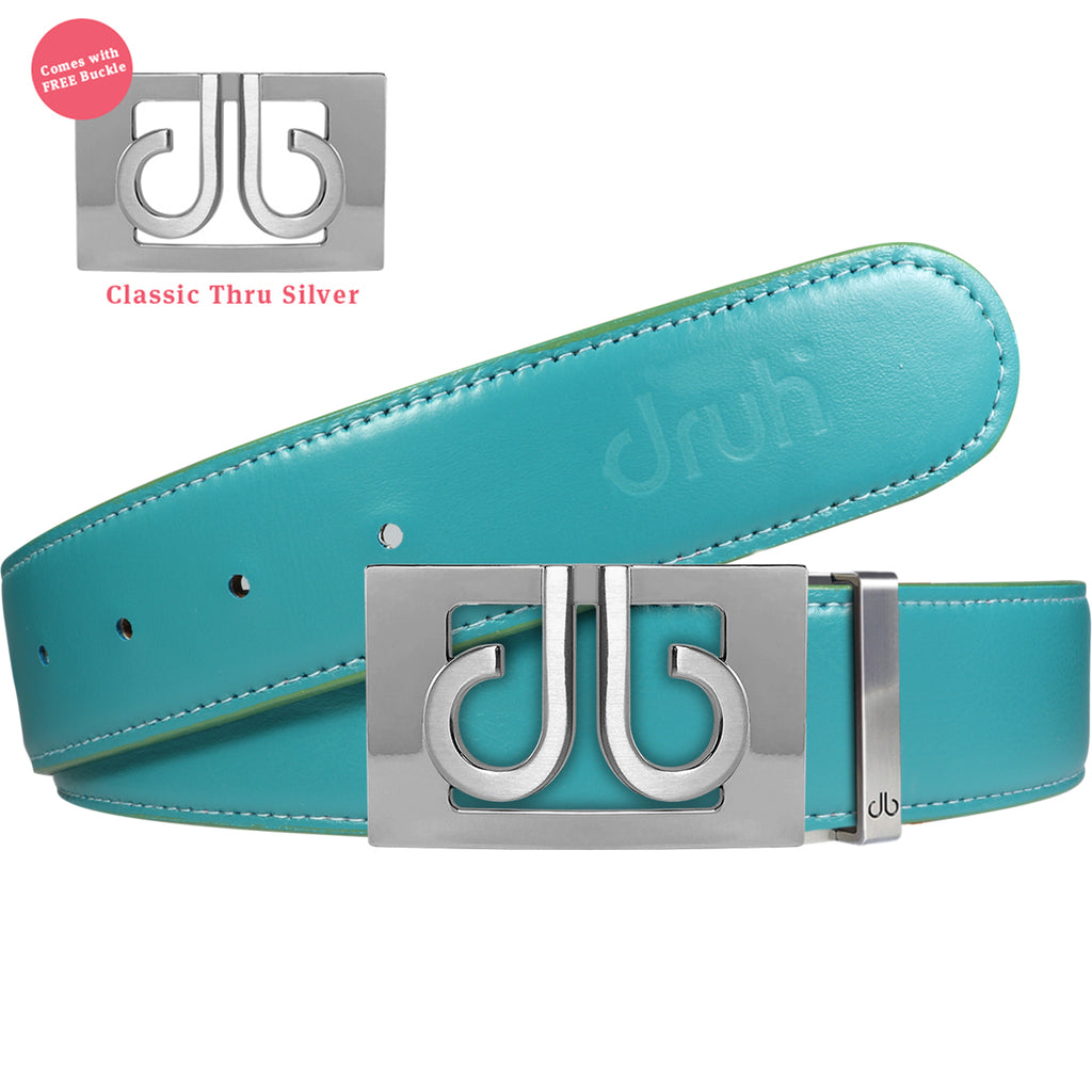 Full Grain Leather Belt in Aqua with Silver 'db' Thru Buckle