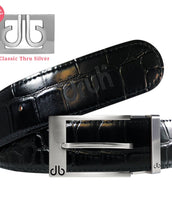 Silver Prong Buckle with Black Crocodile Patterned Leather Belt