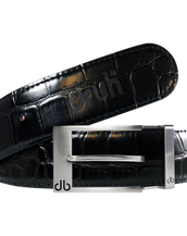 Black Crocodile Textured Leather Belt with Prong Buckle