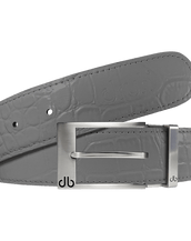 Grey Crocodile Textured Leather Belt with Prong Buckle