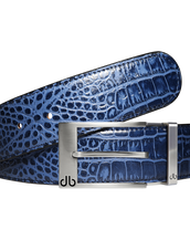 Blue Crocodile Textured Leather Belt with Prong Buckle